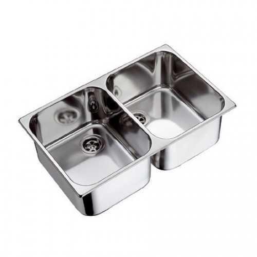 Lavello doppio in acciaio Inox lucido