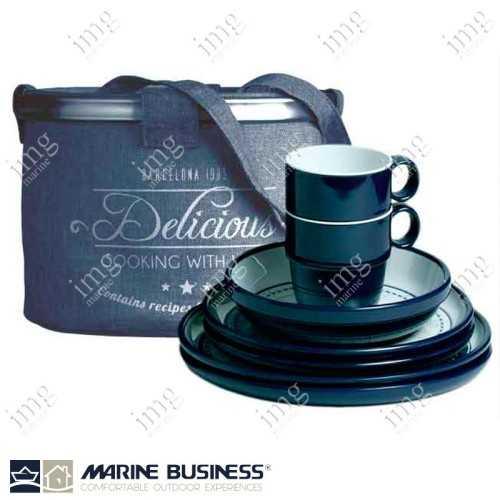 Set piatti 16 pezzi melamina Columbus Marine Business