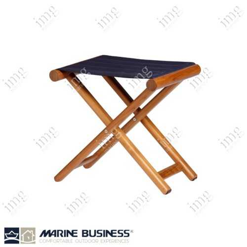 Sgabello Teak pieghevole Olefina Blue Navy Marine Business