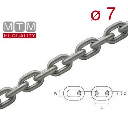Catena calibrata zincata MTM Ø 7 passo 22