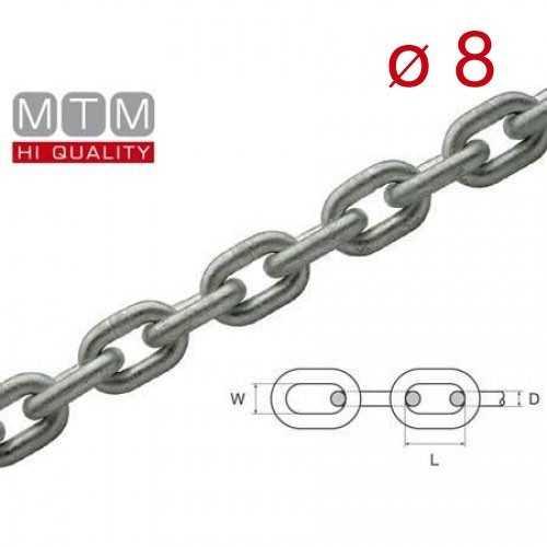 Catena calibrata zincata MTM Ø  8 per verricelli