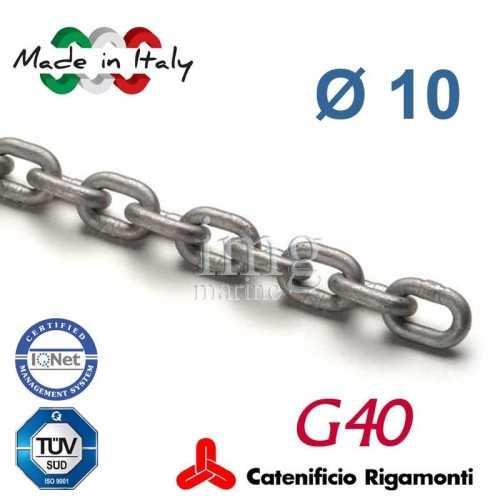 Catena calibrata zincata G40 Ø 10 passo 28 Rigamonti