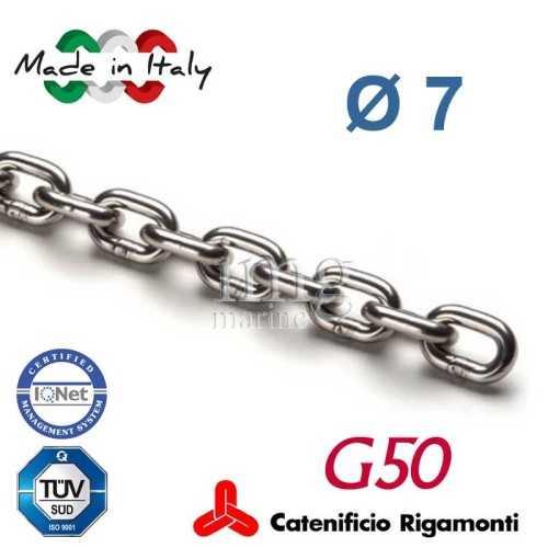 Catena calibrata inox G50 Ø  7 Rigamonti