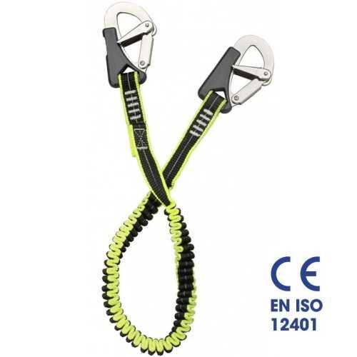 Cinghia sicurezza cordone ombelicale elastico 2 moschettoni Plastimo EN ISO 12401
