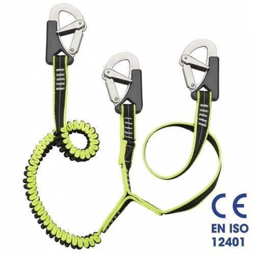 Cinghia sicurezza cordone ombelicale elastico 3 moschettoni Plastimo EN ISO 12401