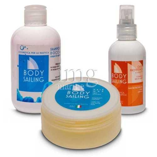 Kit mare estate Body Sailing 2 con Shampoo doccia Olio protettivo e Cera per capelli
