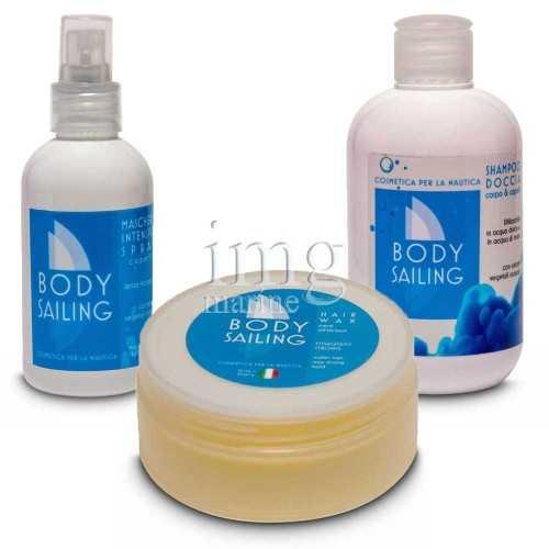 Kit mare Body Sailing 3 Shamoo doccia Maschera e Cera per capelli