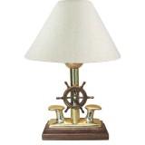 Lampada Abat-jour con bitta in ottone e timone in legno