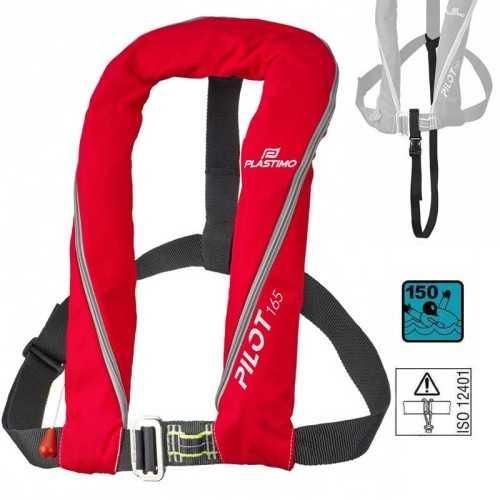 Plastimo Pilot 165N Giubbotto salvagente automatico gonfiabile ISO 12402-3 con cintura di sicurezza ISO 12401 colore rosso