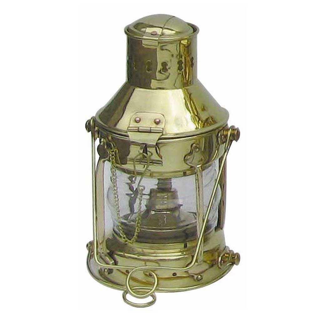 Lampada dell'ancora in ottone, funzionante a petrolio o elettrica H 24 cm.