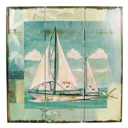Quadro in legno con barca a vela