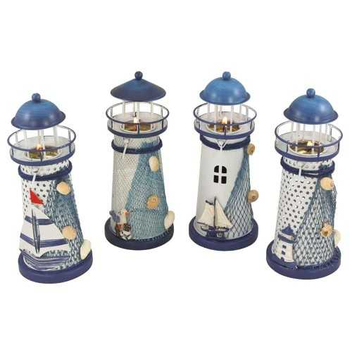 Set di 4 fari decorativi porta tea-light, realizzati in metallo decorato a mano