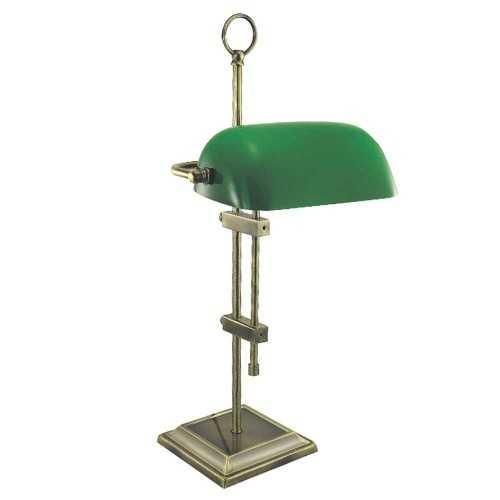 Lampada da tavolo in ottone anticato con opaline verde H55