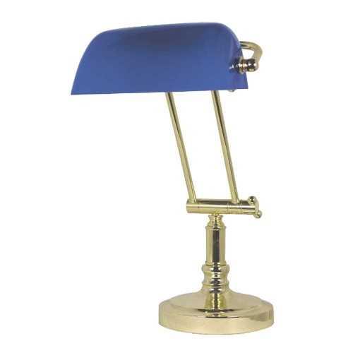 Lampada da tavolo in ottone con opaline blu
