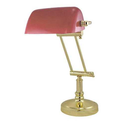 Lampada da tavolo in ottone con paralume opaline rosso