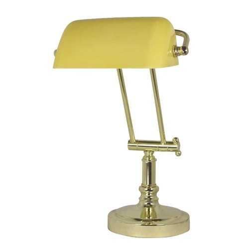 Lampada da tavolo in ottone con paralume opaline giallo