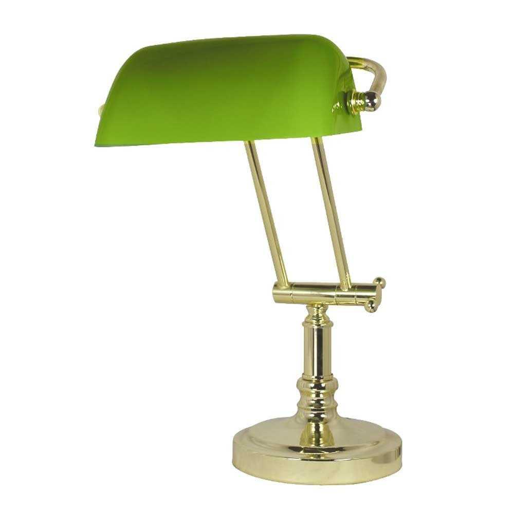 Lampada Da Scrivania In Ottone.Lampada Da Tavolo In Ottone Con Opaline Verde