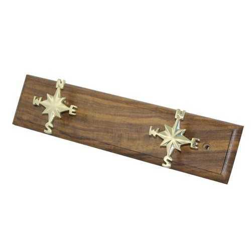 Appendiabiti in legno con rose dei venti 2 posti