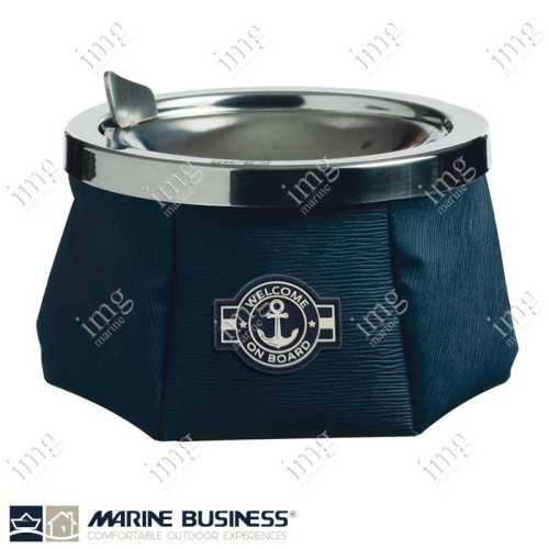 Portacenere da esterno antivento Anchor in skay Blue e accaio inox, antiscivolo Marine Business