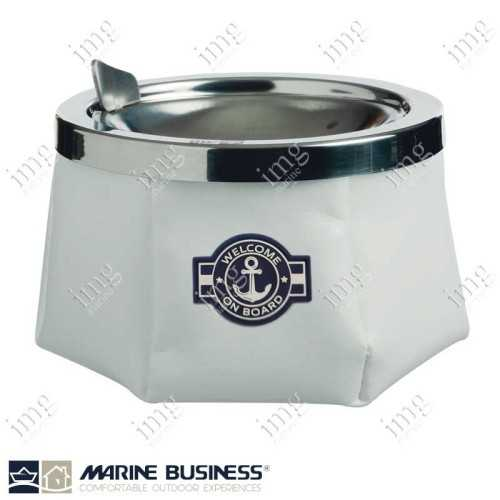 Portacenere da esterno antivento Anchor in skay Bianco e accaio inox, antiscivolo Marine Business