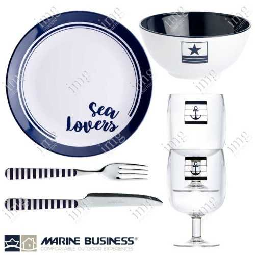 Set stoviglie infrangibili Sea Lovers per 4 persone Marine Business