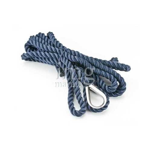 Cima ormeggio Blue Navy tre legnoli con redancia inox