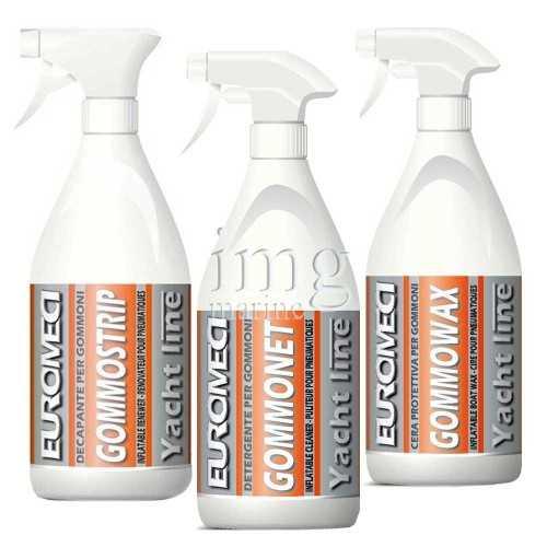 Kit pulizia e manitenzione gommone Euromeci Gommonet, Gommostrip e Gommowax