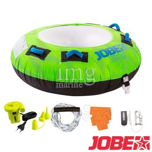 Jobe Rumble Green Package, ciambella trainabile per barca, gommone, moto d'acqua