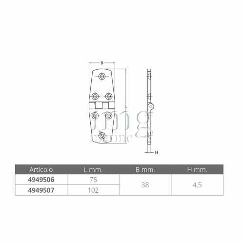 Cerniera alto spessore esagonale in acciaio inox AISI 316
