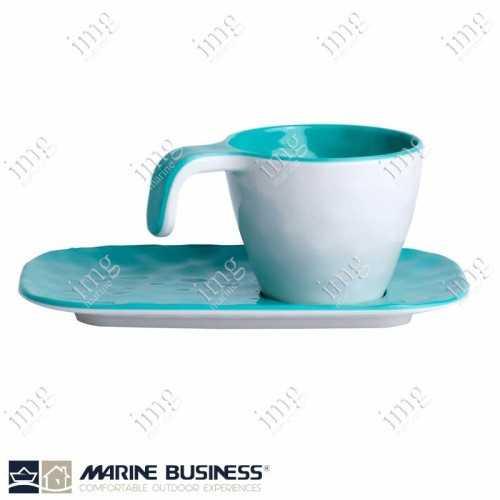 6 Tazzine caffè con piattini Summer Acqua Marine Business