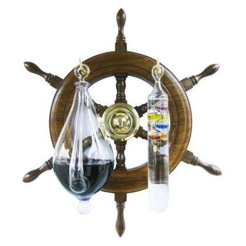 Barometro ad acqua e Termometro di Galileo con timone in legno