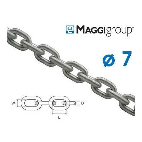 Tese di catena zincata 7 mm Maggi calibrata per verricelli