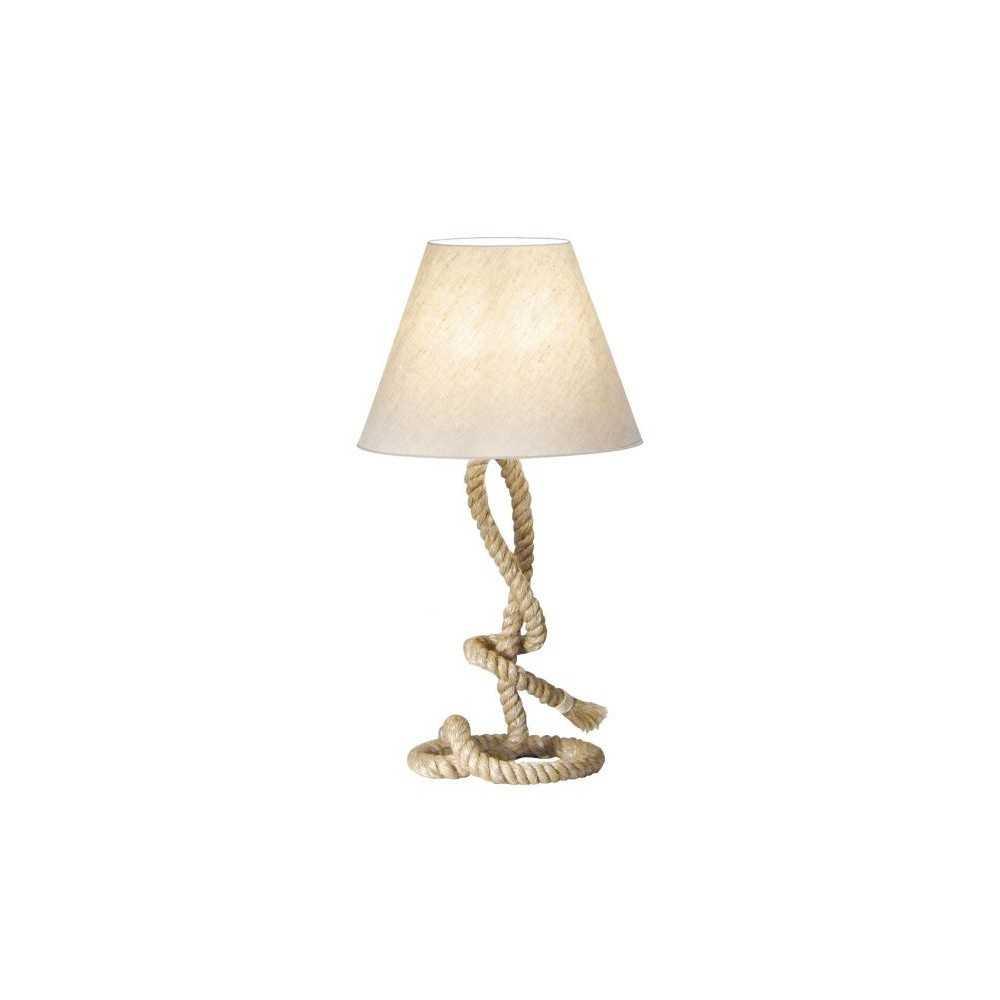 Lampada da tavolo con supporto in canapa