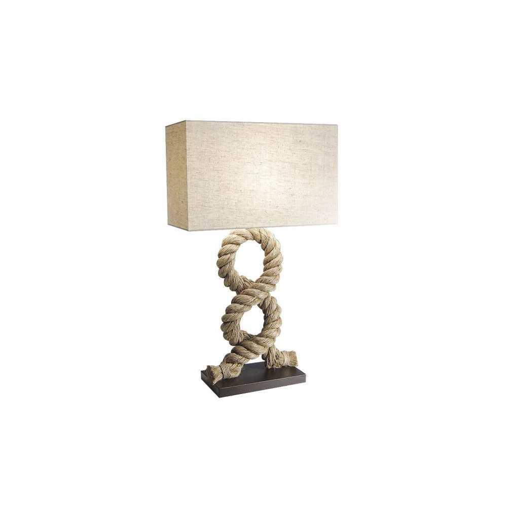 Lampada da tavolo con supporto in canapa e base in legno
