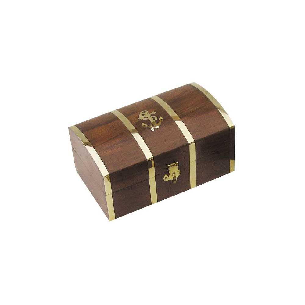 Cofanetto forziere in legno con intarsi in ottone
