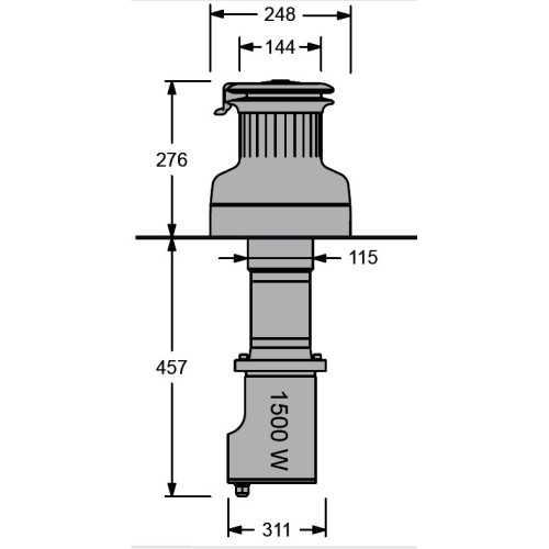 Winch elettrici verticali da 1500 W Antal a 12 / 24 V