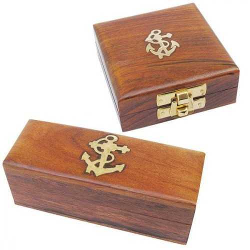 Scatola portaoggetti in legno Sheesham con intarsi in ottone