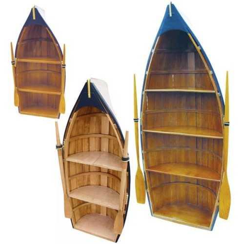 Scialuppa portaoggetti realizzata in legno, con remi