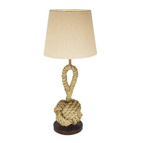 Lampada da tavolo con lanciasagola in canapa e base in legno.