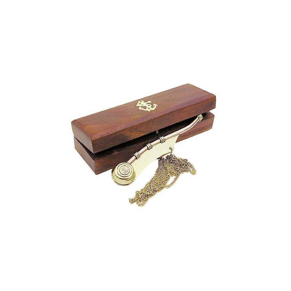 Fischietto del battelliere in ottone e rame con scatola in legno
