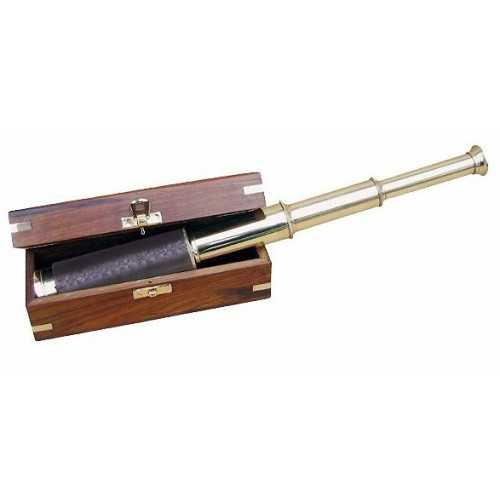 Cannocchiale in ottone e cuoio con scatola in legno Sheesham