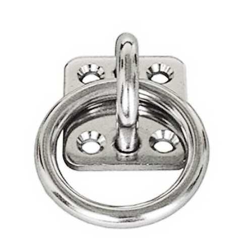 Anello su piastra a 4 fori in acciaio Inox