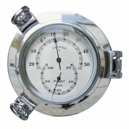 Igrometro e Termometro in ottone cromato