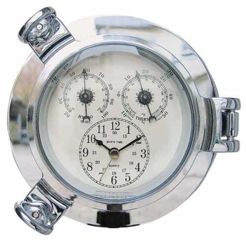 Orologio, Igrometro e Termometro in ottone cromato